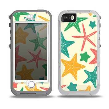 The Tan And Colorful Vector StarFish Skin for the iPhone 5-5s OtterBox Preserver WaterProof Case