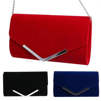 New 1Pc Lady Velvet Bridal Clutch Evening Bag Prom Wedding Women Shoulder Handbag Purse