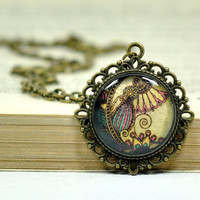 Vintage Look Pendant, Victorian Necklace, Filigree Pendant, Glass Pendant, Flower Necklace