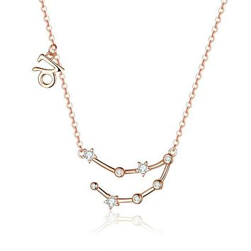 Rose Gold Zodiac Pendant Necklace - Capricorn