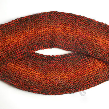 Knitted Unisex Snood Oversized Scarves Warm Chunky Boucle Orange Wool Scarf Knit Knitted Cowl Circle Scarf Knit Loop Scarf Circle Scarf