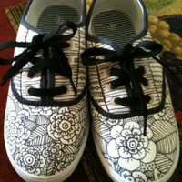 Black And White Flower Shoes Done By Hand