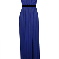 Blue Sleeveless Back Cut Out Pleated Maxi Dress