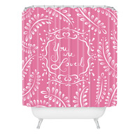 Lisa Argyropoulos You Are Loved Blush Shower Curtain