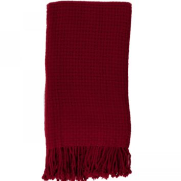 Basketweave Throw in Claret - Wool & Cashmere