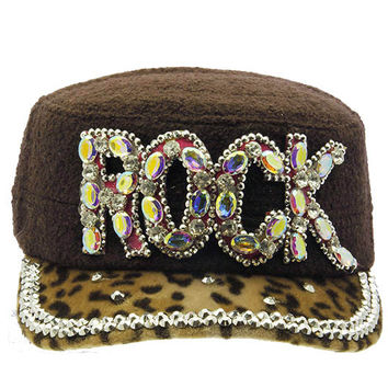 Rock Military Style Faceted Hat Brown