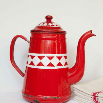 Vintage french red enamel coffee pot, Cafetiere