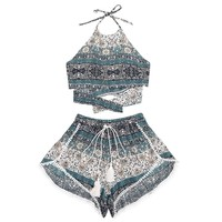 Tribal Print Halter Top with Shorts Set