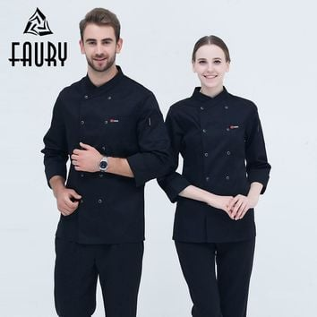 Black Long Sleeve Master Cook Work Uniforms Restaurant Hotel BBQ Kitchen High Quality Workwear Clothing Food Service Chef Tops