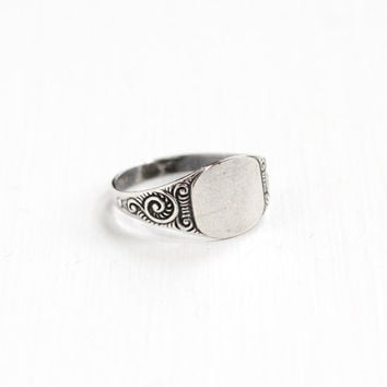 Vintage Sterling Silver Art Deco Signet Ring - Size 8 Blank Monogrammed Initial Jewelry with Scrolling Repousse Shoulder Jewelry