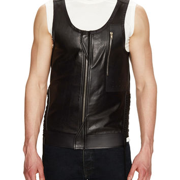 Rick Owens Men's Leather Lace-Up Tank Vest - Black - Size XS