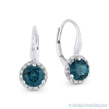 1.73 ct London-Blue Topaz Diamond Leverback Drop Baby Earrings in 14k White Gold