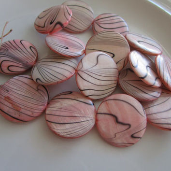 16 Light Pink - Black - Zebra Shell Flat Bead - 3mm x 25mm - jewelry bead supplies - zebra shell bead - round zebra shell beads - light pink