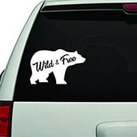 Dabbledown Decals Wild and Free Bear White Version Car Window Windshield Lettering Decal Sticker Decals Stickers