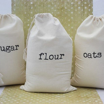 NEW - Set of Basic Country Flour, Sugar and Oats Cotton Drawstring Storage Sacks / Bags - Reusable and Perfect for storage