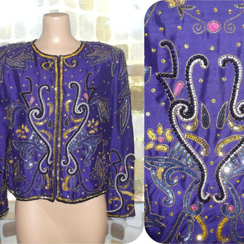 Vintage 80s Sequin Jacket | 1980s Embellished Jacket | Purple Silk Beads & Sequins | Trophy Jacket | Size M/L