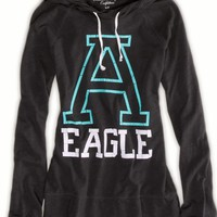 AEO Women's Graphic Hoodie T-shirt (Ebony Grey)