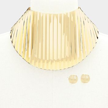 "13.50"" 4.25"" wide sheet ribbed choker collar necklace bib .75"" earrings"