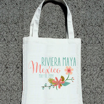 Destination Wedding Location Floral Bags- Wedding Welcome Tote Bag