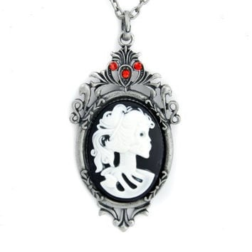 Skeleton Girl Cameo Necklace Swarovski Jewelry Victorian Lolita Gothic Cosplay