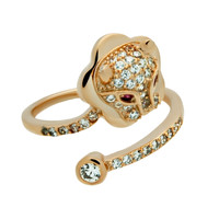 Gorgeous Adjustable Gold Lion Ring with Cubic Zirconia and Swarovski Stones