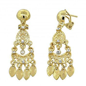 Gold Layered 5.097.012 Chandelier Earring, Teardrop Design, with White Cubic Zirconia, Diamond Cutting Finish, Gold Tone