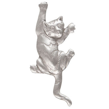 Cat Climbing Pewter Clutch Pin