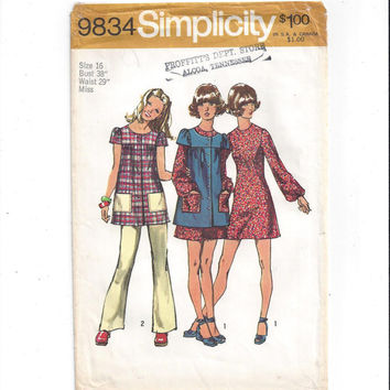 Simplicity 9834 Pattern for Misses' Mini Dress, Smock, Pants, SIze 16, from 1971, Vintage Pattern, Home Sewing Pattern, Classic 1971 Fashion