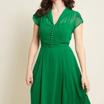Hell Bunny Sculpture Garden Gala Midi Dress in Green