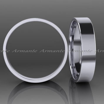 14k White Gold Wedding Band, Hand Made Solid White Gold Band 4.00mm Wide