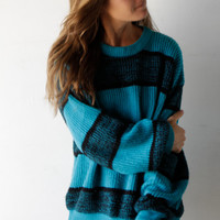 90s simple STRIPED teal blue & black grunge SLOUCHY by ZiaVintage