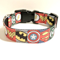 "Super Hero Dog Collar - 1"" Adjustable Comic Collar: Flash, Superman, Green Lantern, Batman, Wonder Woman,"