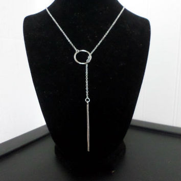 Dainty Silver Thin Circle Bar Lariat Pendant Necklace Layering Necklace