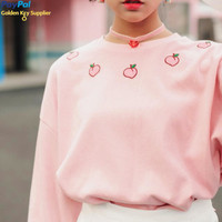 Peach Embroidered Sweater