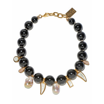 Lizzie Fortunato Evora Necklace - Black Agate Bead Necklace