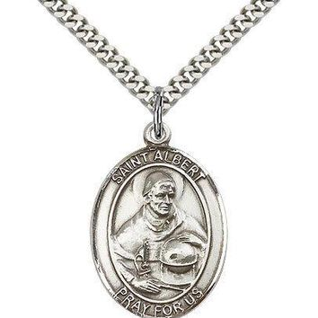 """Saint Albert The Great Medal For Men - .925 Sterling Silver Necklace On 24"""" C..."""
