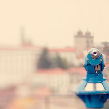 viewfinder photography - urban landscape travel photography - Porto Portugal city photograph -  blue art print -  architecture - home decor