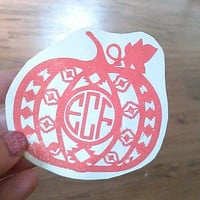 Pumpkin Monogram-Cup Decal-Aztec Pumpkin-Sticker for Cup-Bucket decal-Halloween