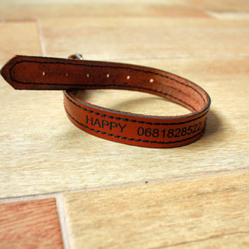 Leather Dog Collar Personalized Leather Dog Collar custom Leather Dog Collar FREE Name phone number Handmade dog Collar Black  Brown