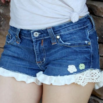 Country Girl, Cottage Chic, Country Western, Ruffled Lace and Crochet Jean Shorts CUSTOM MADE, Eco Earth Friendly, Upcycled Clothing