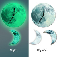 Novetly 30cm 12'' Luminous Moon Wall Clock with Crescent Pendulum Glow In The Dark Night Home Decor Quartz Silence for Bedroom