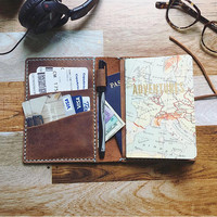 LEATHER TRAVEL WALLET - Rustic Brown Wallet - Passport Holder - Passport Wallet - Leather Passport Wallet - Travel Organizer - Leather Walle