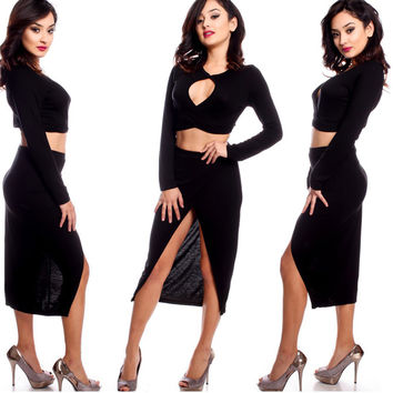 Cut-out Long Sleeve Crop Top and Asymmetrical Skirt with Front Slit