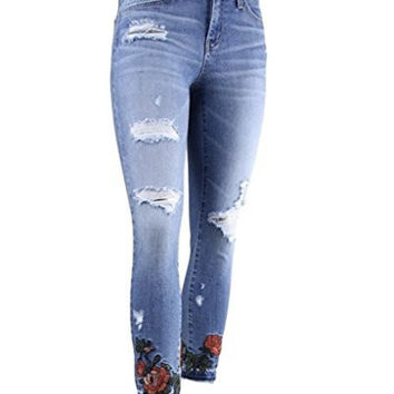 Flying Monkey Women's Enchanted Garden Mid Rise Distressed Cropped Skinny Jeans with Embroidered Roses