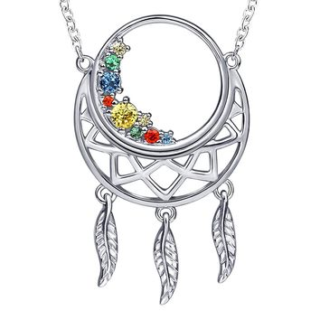 925 Sterling Silver Large Moon Good Luck DreamCatcher Feathers Charm Pendant Necklace with white gold Gifts Jewelry Long Chain for women