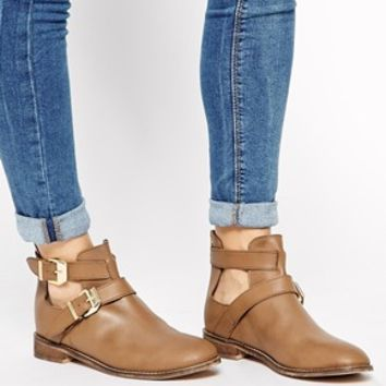 ASOS ALONG SIDE ME Leather Ankle Boots