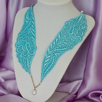 Blue Turquoise Lace Necklace in Antique Bronze
