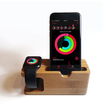Apple watch / iPhone wood dock, Apple watch charging stand