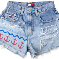 Nautical Anchor Waves Ocean USA Shorts Hand Painted Vintage Distressed High Waisted Denim Boho Hipster Small Medium W25