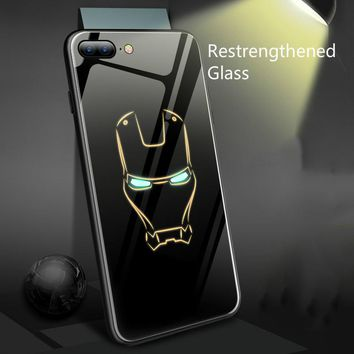 Coque Marvel Batman Iron Man Luminous Glass Phone Case For iphone x 6 6s 7 8 Plus 7plus XS Max XR 5 Spiderman Black Panther Case